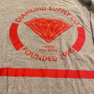 Diamond Supply Co. Shirts - Diamond Supply Co. Gray & Red Tee Size Large